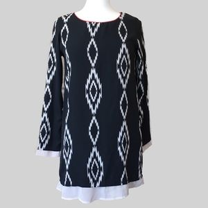 Black White Ikat Shift Dress - Coveted Clothing S